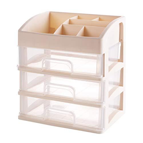 Boîte à Bijoux Sac Cosmétique Multi-Fonction Boîte de Rangement cosmétique Rack de tiroir de Bureau de Finition de Rack Multicouche en Plastique Rose