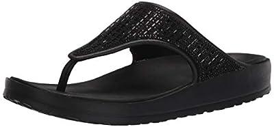 Skechers Women's Cali Gear Flip-Flop, Black w/Black Rhinestones, 8 US