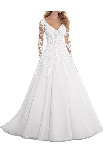 Topkleider Damen Blau Neu V-Neck Spitze Tuell Hochzeitskleider Lang Abendkleider mit Arm-42-Weiss