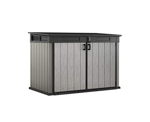 Keter Store It Out Grande Outdoor Plastic Garden Storage Shed, Grey and Black, 190 x 109 x 132 cm