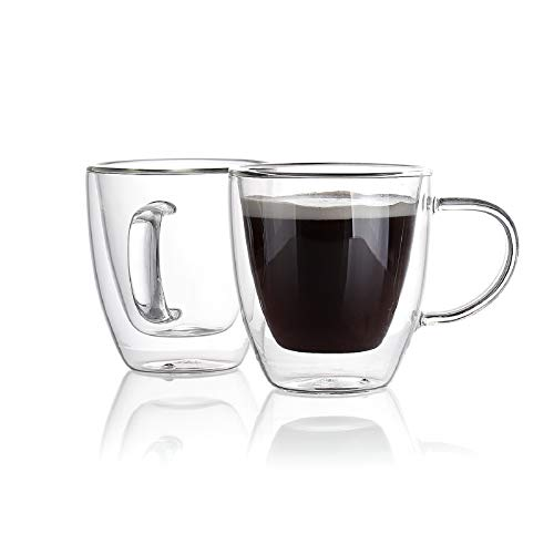 Sweese 417.101 Espresso Cups 5.4 oz Double Wall Insulated Glass Cups with Handle, Coffee Glasses Cups Perfect for Espresso Machine, Set of 2
