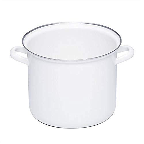 Riess 0274-033 - Pentola alta con bordo cromato, 22 cm, senza coperchio, colore: Bianco