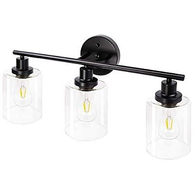 Brillihood 3-Light Bathroom Vanity Light, Industrial Bathroom Wall Sconce Lighting with LED Bulbs, Black Farmhouse Vanity Lamp Fixture with Clear Glass Shade for Bathroom Bedroom Living Room