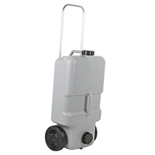 afvalwater roltank 25 liter met wieltjes, uittrekbaar handvat, grijs, ideaal voor caravans