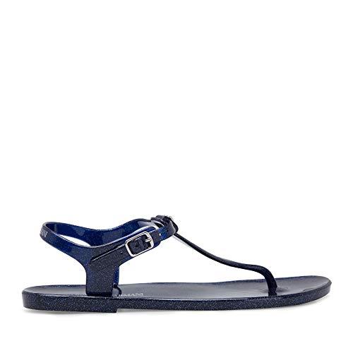 Emporio Armani Flip-Flops aus PVC für Damen X3QS06 XL816 (Blue-Glitter, 40)