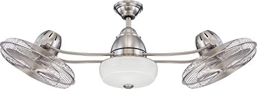 """Craftmade BW248BNK6 Bellows II Industrial Dual Mount 48""""Outdoor Ceiling Fan with 18 Watts Light Kit and Remote Control, 6 Blades with Safety Cage, Brushed Polished Nickel"""