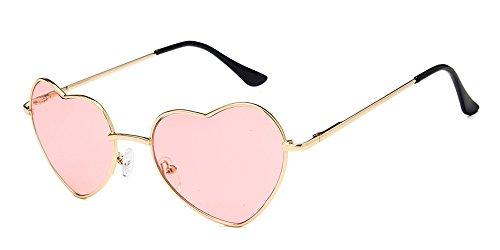 BOZEVON Moda Retrò Vintage Cuore a Forma di Occhiali da sole UV400 Colore Sfumato per Donna, oro(Telaio)/Trasparente rosa