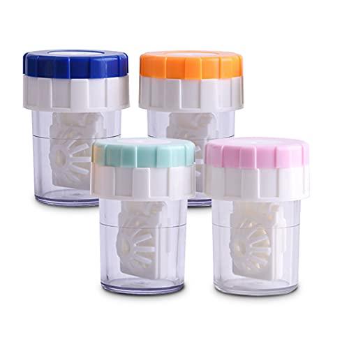 4 Stück Kontaktlinsen behältnis,Kontaktlinse Kästen mit,Kontaktlinsen Aufbewahrung für Tägliche Reisen(Vier Farben)