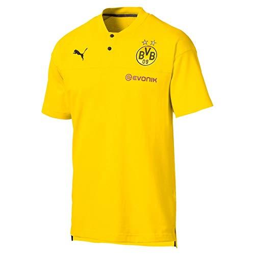 PUMA BVB Casuals Polo with Evonik Logo Camiseta, Hombre, Cyber Yellow Black, S