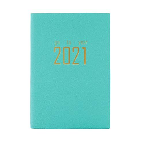 JPYH Agenda Del Taccuino Del Calendario 2021 Libro di Annotazione Programma Pratico carta A5 Premium più spessa Libro Piano Libro per Studenti Scuola D'ufficio(verde)