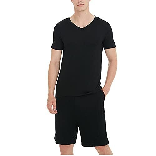 メンズ モーダル薄型パジャマ セット V ネック プルオーバー半袖パジャマ PJ スーツ,黒,XL