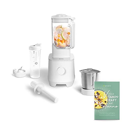 Hochleistungsmixer Hanno 2000 W, 32.000 U/min, Standmixer mit 2,5 L Tritan-Behälter ohne BPA inkl. Edelstahlmixbehälter, To-Go-Mixflasche und Rezeptheft