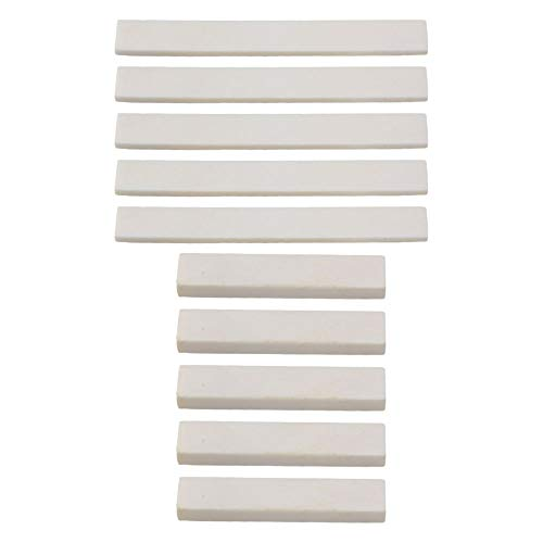 Yibuy White Blank Guitar Cattle Bone 80x2.7x9mm Saddle & 52x6x9mm Nut Set for DIY Set of 5