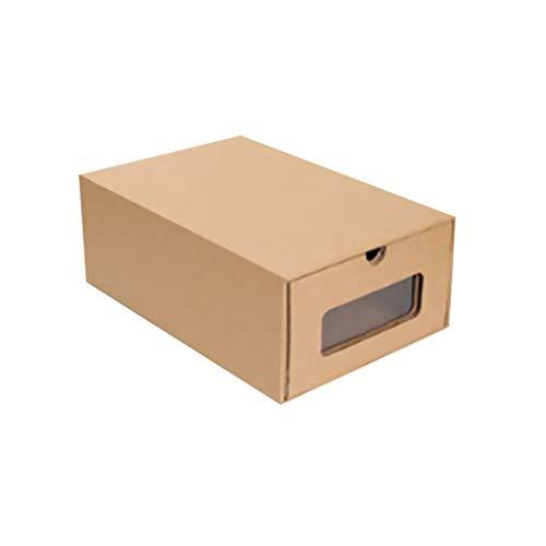 HYAN Zapatero Caja de Papel de Piel de Vaca Transparente Espesado Kraft Caja de cartón Cajón Transparente Caja de Zapatos Caja de receptáculo de Almacenamiento de Papel Caja de Zapatos (Color : C)