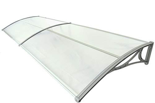 TRUTZHOLM Überdachung Vordach 100 x 200 cm Silber Haustürdach Haustür Pultvordach Kunststoff Alu Leisten Wetterschutz Eingangsbereich