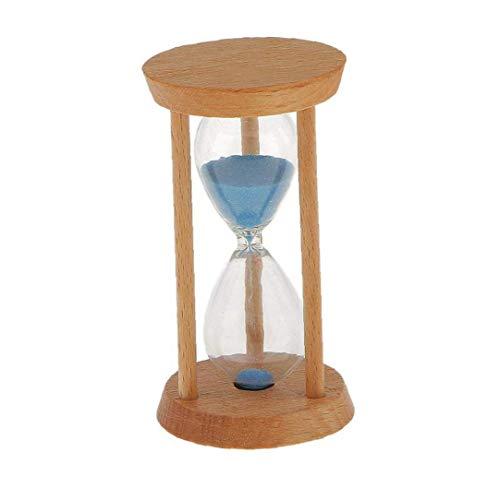 Forma 3 minutos en Ronda de arena de cristal de reloj de arena de madera recta temporizador de cocina Utensilios de escritorio del hogar herramientas estante Decoración de Utilidad azul en la cocina