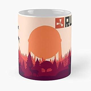 Fun Game Meme Survive Survival Games Logo Rust Eat Food Bite John Best - Taza de café de cerámica Blanca, 11 onzas, Onza