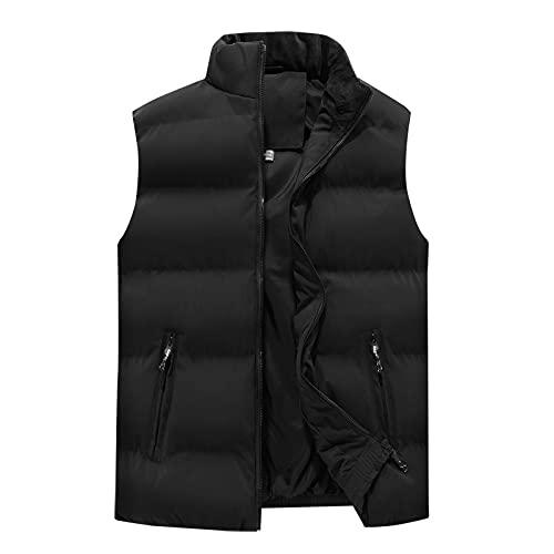 Chaleco sin mangas para hombre, ajuste delgado, con cremallera, estilo casual, al aire libre, para otoño, invierno, chaqueta sin mangas, Negro-1, XL