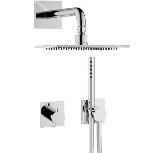 KEUCO IXMO Duschsystem 2 Verbraucher, Komplett-Set mit IXMO Thermostat, Kopf- und Handbrause, Brause-Schlauch, Brause-Halter, eckige Rosetten