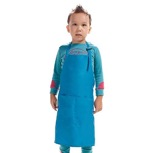 H.BETTER Kids Children Apron Adjustable Strap with 2 Pockets Bib Aprons Girls Boys Painting Cooking Crafts Backing Kitchen Unisex (Blue)