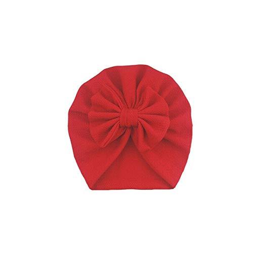 Accesorios de Cosas para bebés Sombrero de niña con Nudo de Lazo Gorro para bebé Sólido Gorra con Lazo Grande para niñas Sombreros para niños-Red
