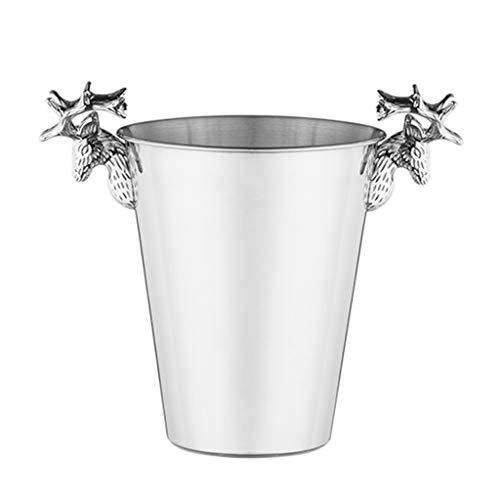 Cx Eiskübel Edelstahl Icewine Eiskübel Ice Grain Rohr Antler Bar Wein Wein Champagne Bucket, 2 Größen verfügbar Weinbar (Color : B, Size : 5L)