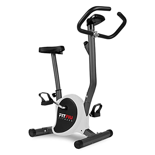 Fitfiu Fitness BEST-100 - Bicicleta estática ultracompacta, regulable en 8 niveles de resistencia, sillín ajustable en altura y pantalla LCD, Entrenamiento fitness en casa, color Gris