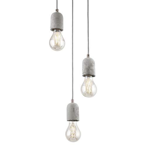 EGLO Lámpara colgante Silvares, 3 focos, vintage, industrial, lámpara de techo de acero y hormigón en gris, lámpara de comedor, lámpara de salón colgante con casquillo E27