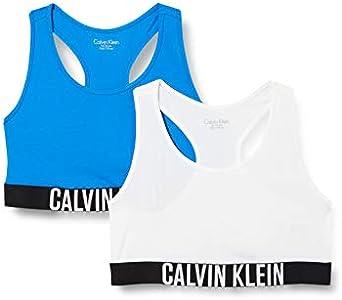 Calvin Klein 2pk Bralette Ropa interior,Azul ( 1directoireblue/1pvhwhite ) , 12/14 Unisex Niños
