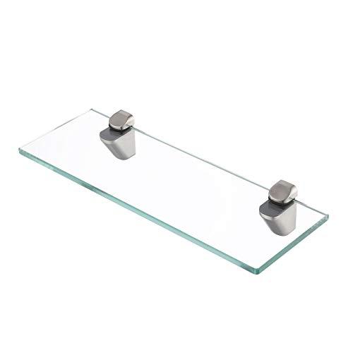 KES Glasregal Duschregal Duschablage Glas 8mm Glasregal Bad Glas Ablage Dusche 35cm mit Glashalter Wandmontage Halterung Rechteck Gebürstet Nickel, BGS3202S35-2