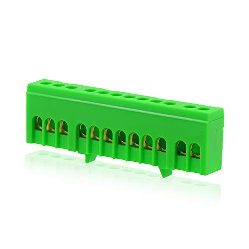Isolierte Neutralklemme 12 polig Grün für DIN-Schiene Hutschiene Verteilerkasten