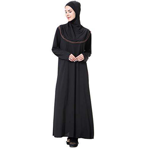 BURFLY2019 Neue muslimische Damen einfarbig Lange Trompete Ärmel Kleid konservativ Kopftuch Roben