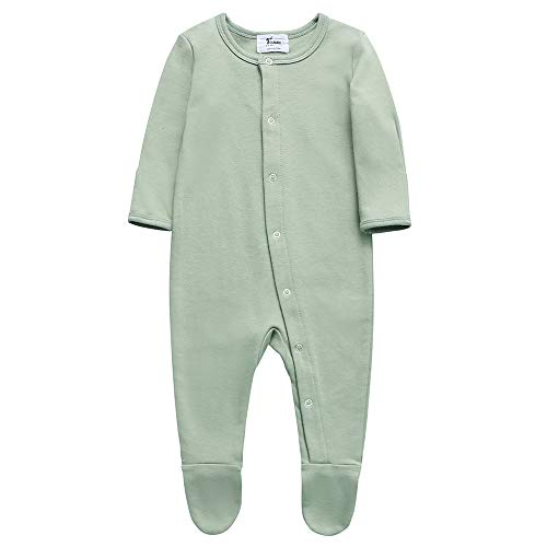 Unisex Baby Organic Cotton Footed Sleep and Play, 2 Long Sleeve Pajamas(12-18Months,Polar Bear&Strip Pack)