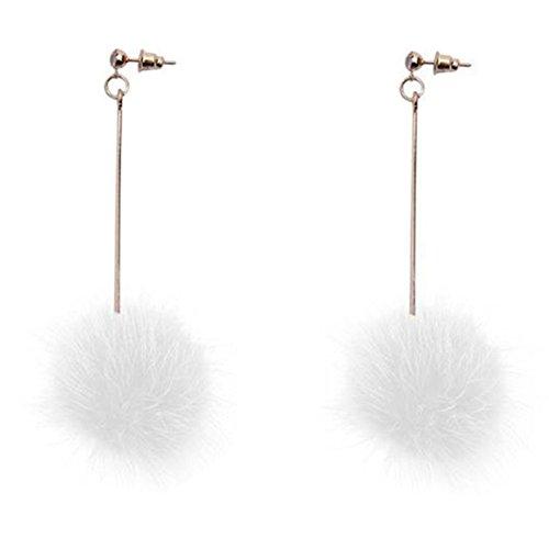 18K Gold Plated Grey/White Mink fur Big Plush ball ear line threader Women Long Tassel Stud Earrings (White)