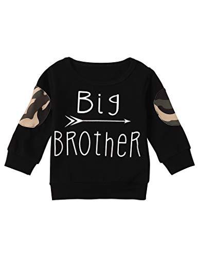 Toddler Infant Baby Boy Clothes Big Brother Long Sleeve Deer Sweatshirt Top (A-Black, 18-24Months)