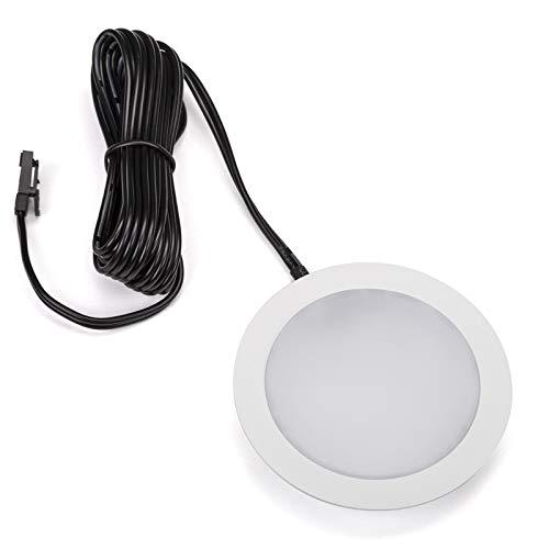SO-TECH® LED Einbaustrahler Giulia Möbeleinbauleuchte Einbauleuchte Spot Ultraslim / 12V / 3W / kaltweiß - 6000K / 65 x 12 mm/Gehäuse weiß