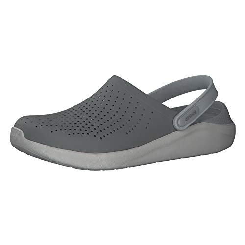 Crocs Men's and Women's LiteRide Clog, Casual Athletic Shoe with Extraordinary Comfort Technology, Smoke/Pearl White, 12 US Women / 10 US Men