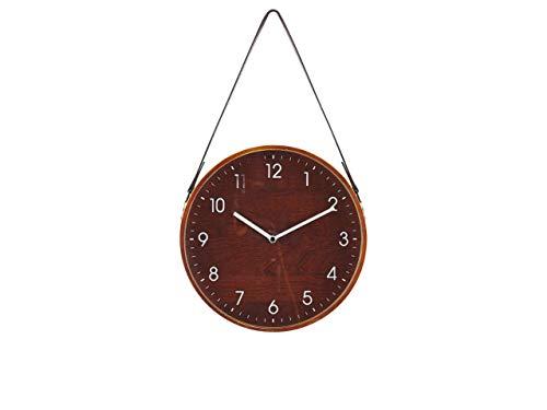 Reloj de pared vintage con correa de piel para colgar, color marrón
