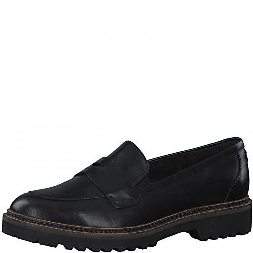 Tamaris Damen Slipper, Frauen Slipper,TOUCHit-Fußbett,Slip-ons,Mokassins,Halbschuhe,Slides,Schlupfschuhe,schluepfschuhe,Black Leather,40 EU / 6.5 UK
