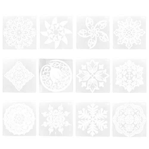 Artibetter 12 Stks Mandala Dot Schilderen Sjablonen Stencils Opengewerkte Kleur Tekening Sjabloon Voor Ambachtelijke Kunstprojecten Decoraties Op Steen Hout Fabic Glazen Muren (Wit) T13-T24