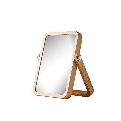 CZFSKCZ Tavolo in Legno Specchio per Trucco vanità- rettangolo Specchi da Parete per Soggiorno, Bederoom, Colore: Colore Originale in Legno, Dimensioni: 21 * 17 cm