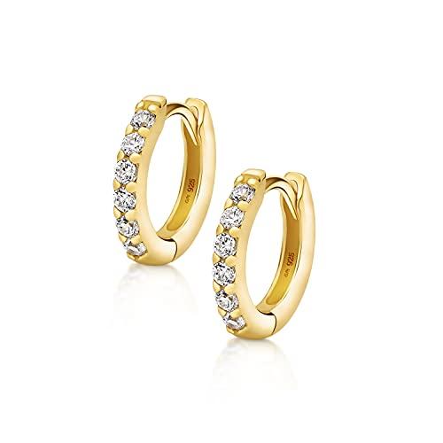 Amberta Pendientes de Aro para Mujer en Plata de Ley 925 con Circonitas: Chapados en Oro 12 mm