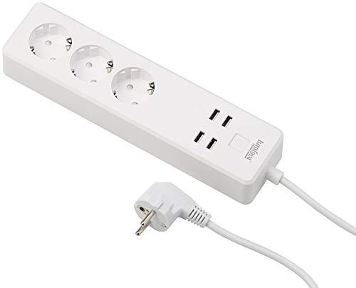 Luminea Home Control WLAN Steckdosenleiste: WLAN-Steckdosen-Leiste, 4x USB, Alexa & Google Assistant komp, 16 A (Smart Home Steckdosenleiste)