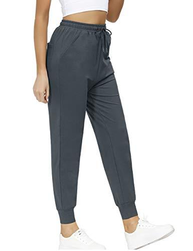 Yidarton Pantalones de deporte de algodón para mujer, de cintura alta, para entrenamiento, ajustados y elásticos, con bolsillos gris oscuro S