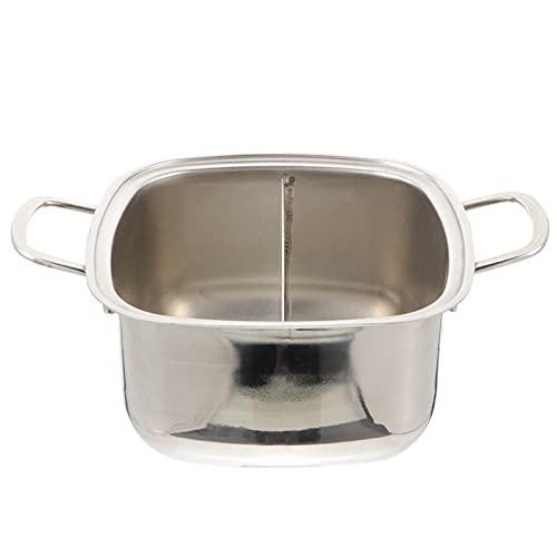 cjcaijun Pot Caliente 1 UNID Dos-SABORT Hot Pot Cocina DE CACINA DE Cocina DE Acero Inoxidable POTE Pot Pot Pot Multifuncional SIN Tapa freidora (Color : 28X18X9.5CM)