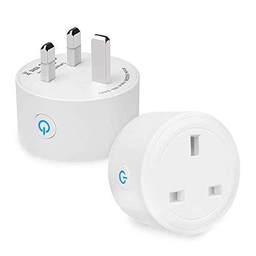 Enchufe inteligente eLinkSmart 16A WiFi Outlet compatible con Alexa, Google Home inalámbrico Socket Control remoto interruptor de enchufe, no requiere concentrador, paquete de 2