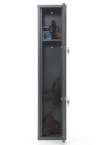 SK New Interiors Buffalo 1115 Gun Rifle Safe Storage Cabinet Key Lock with Separate Shelf for Securing Valuables