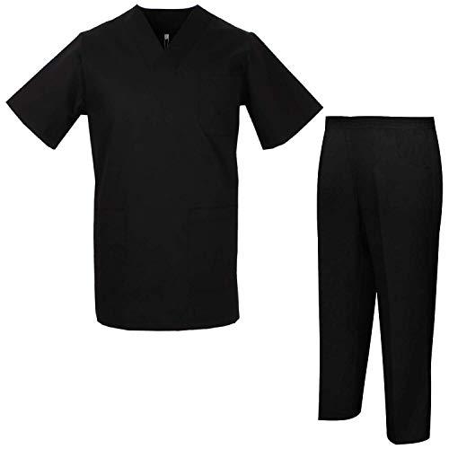 MISEMIYA - Uniformi Unisex Set Camice ? Uniforme Medica con Maglia e Pantaloni Uniformi Mediche Camice Uniformi sanitarie - Ref.8178 - Large, Nero
