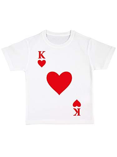 clothinx Kinder T-Shirt Bio Karneval & Fasching Spielkarte Herz König Kostüm Weiß Größe 92