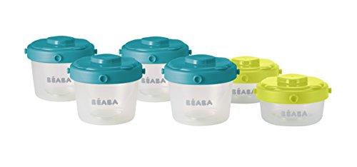 Beaba Clip - Recipiente conservazione omogeneizzati per tenera età, 6 porzioni, 60 e 120 ml, multicolore